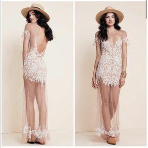 NWT For Love & Lemons Luau Maxi Lace Sheer Dress M